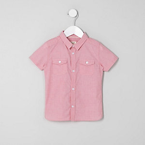 Mini - Rood overhemd met korte mouwen voor jongens