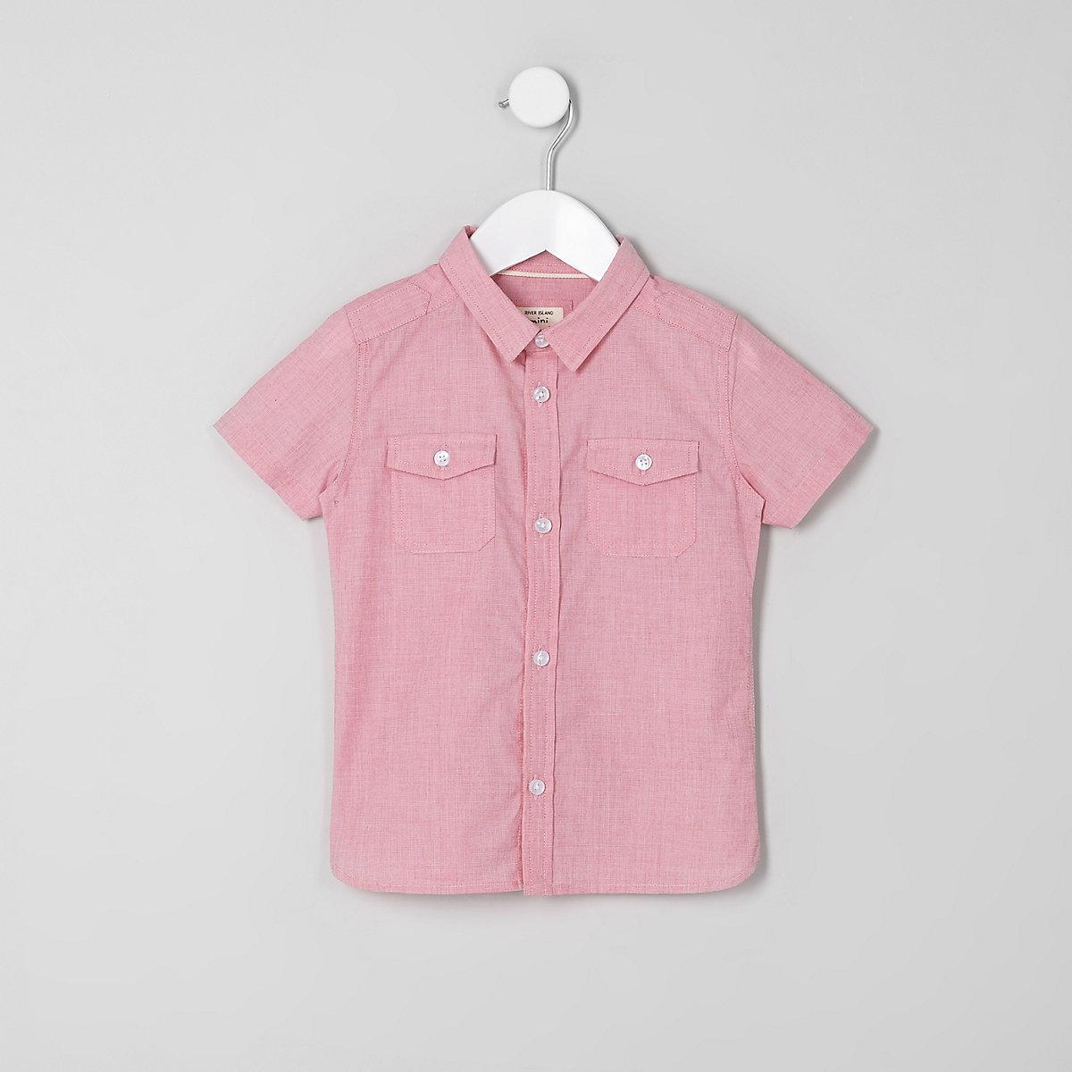 Mini boys red short sleeve shirt