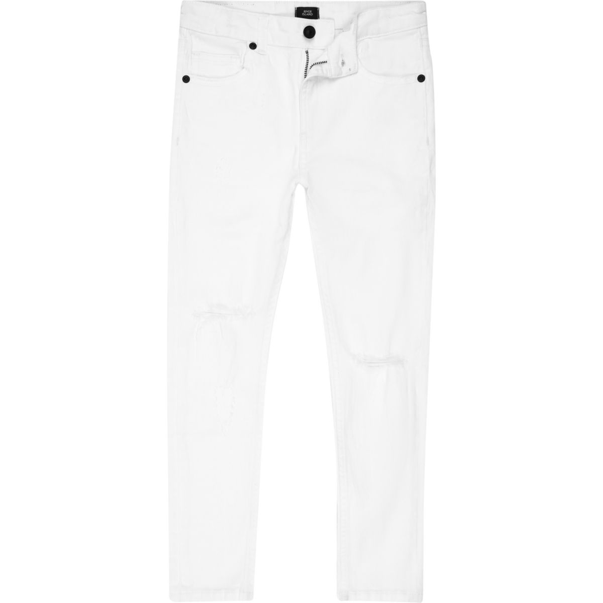 Boys white Danny super skinny ripped jeans