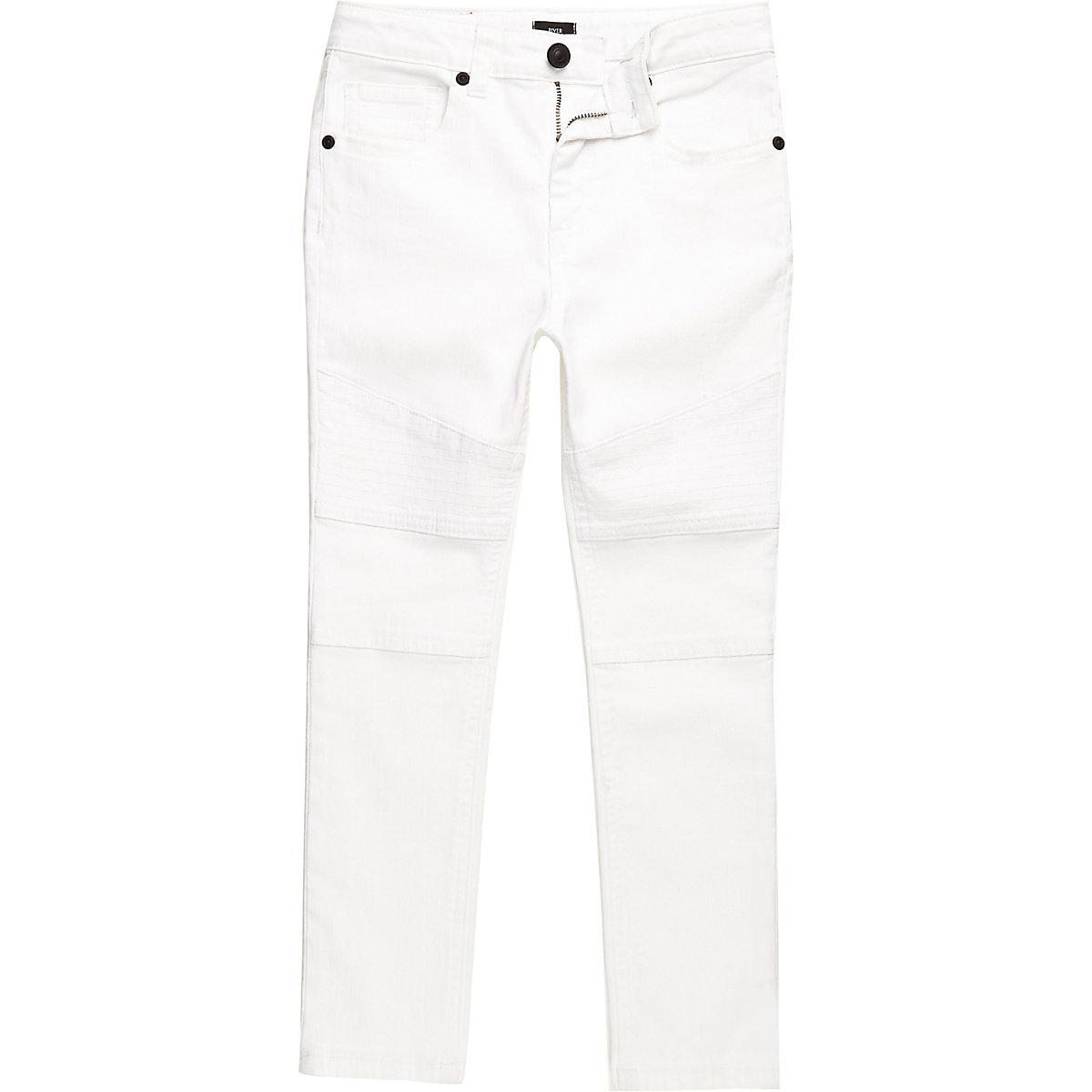 Boys white Sid skinny biker jeans