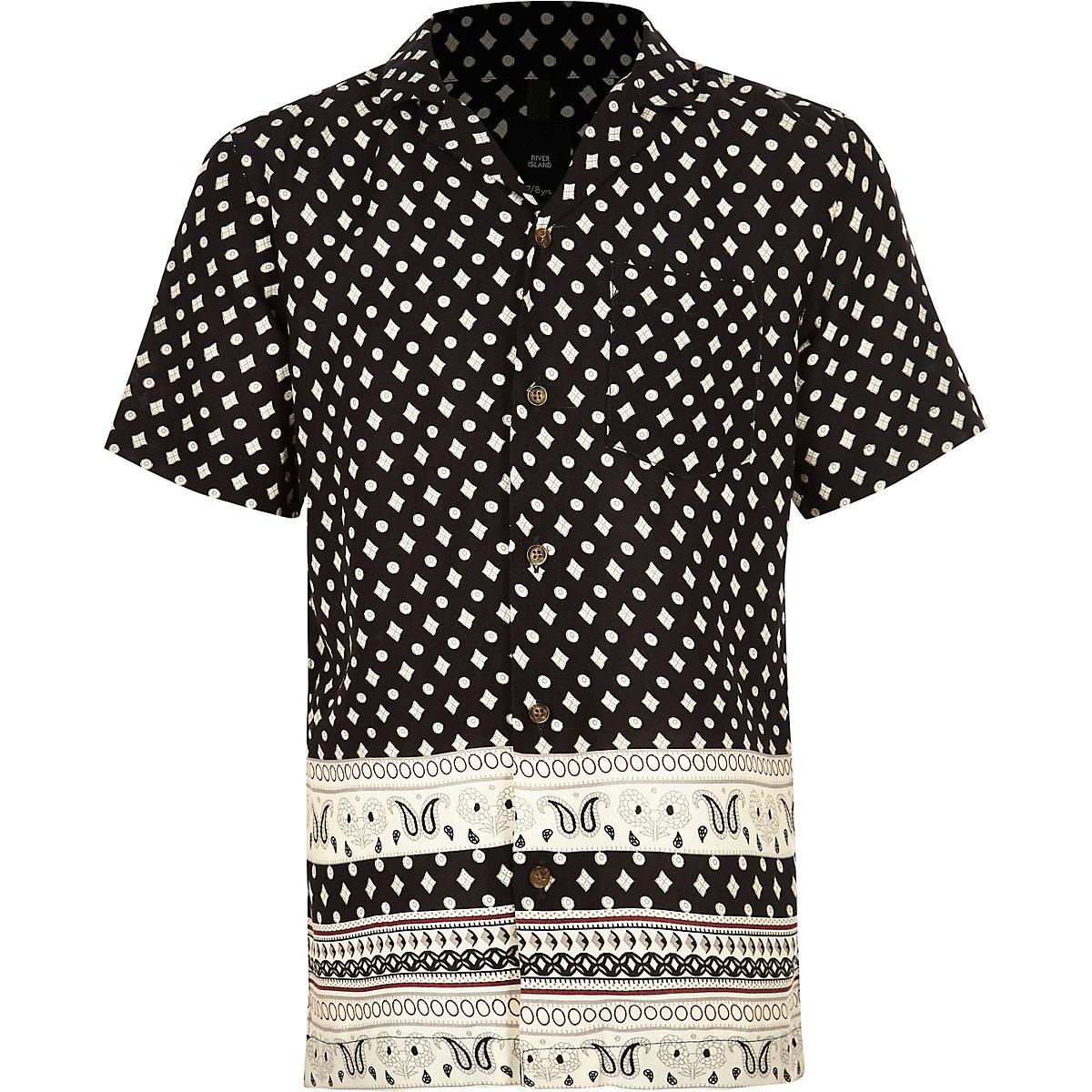 Chemise imprimée noire à manches courtes pour garçon