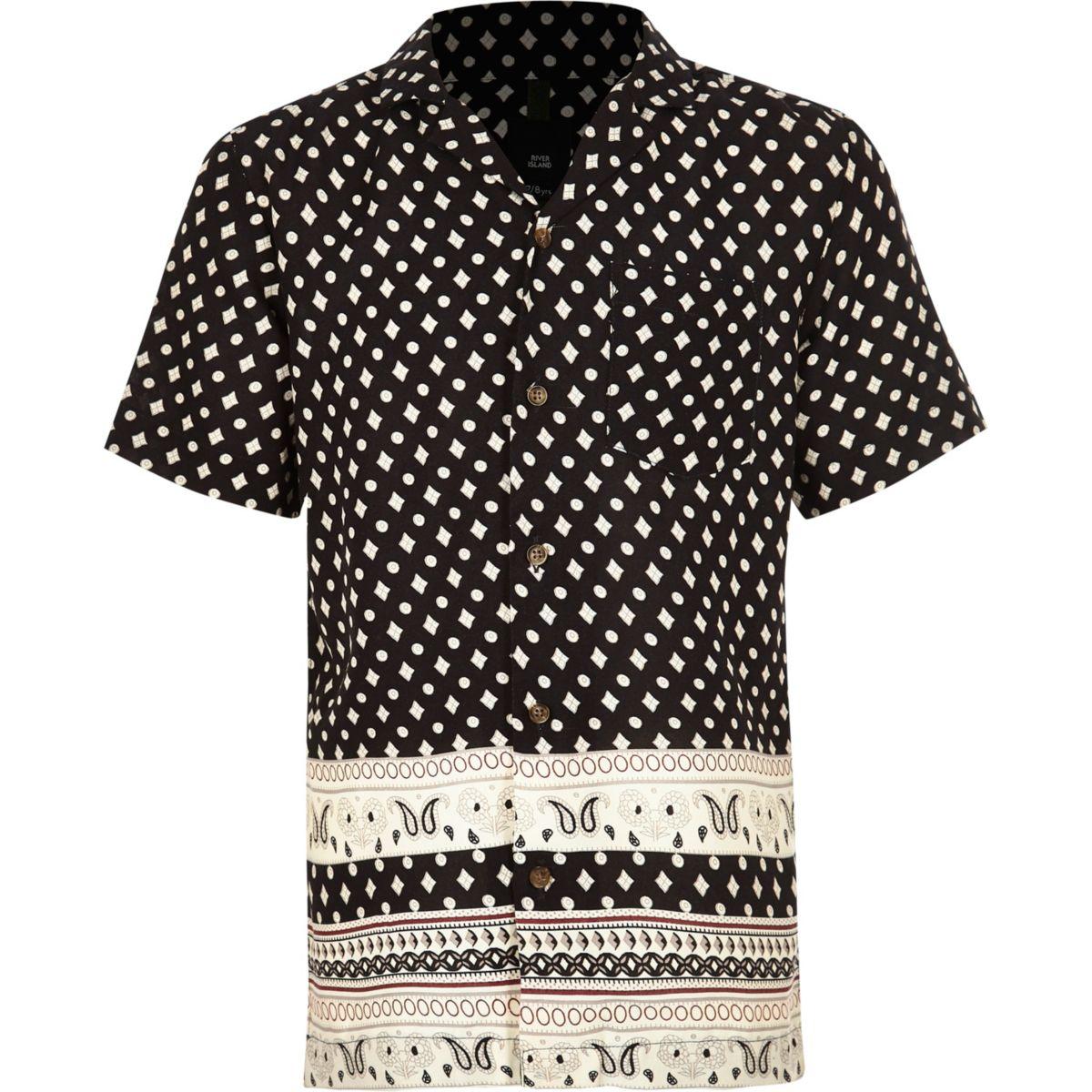 Boys black print short sleeve shirt