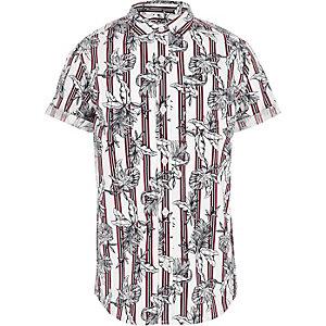 Dunkelrotes T-Shirt mit Streifen und Blumenmuster