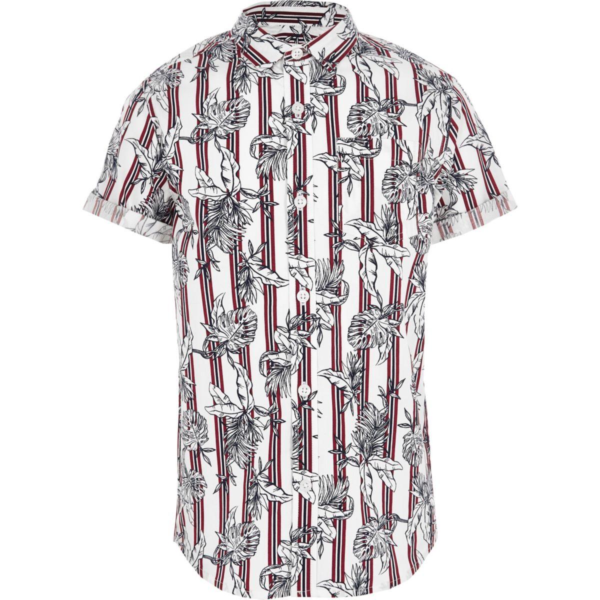 Boys dark red floral stripe shirt
