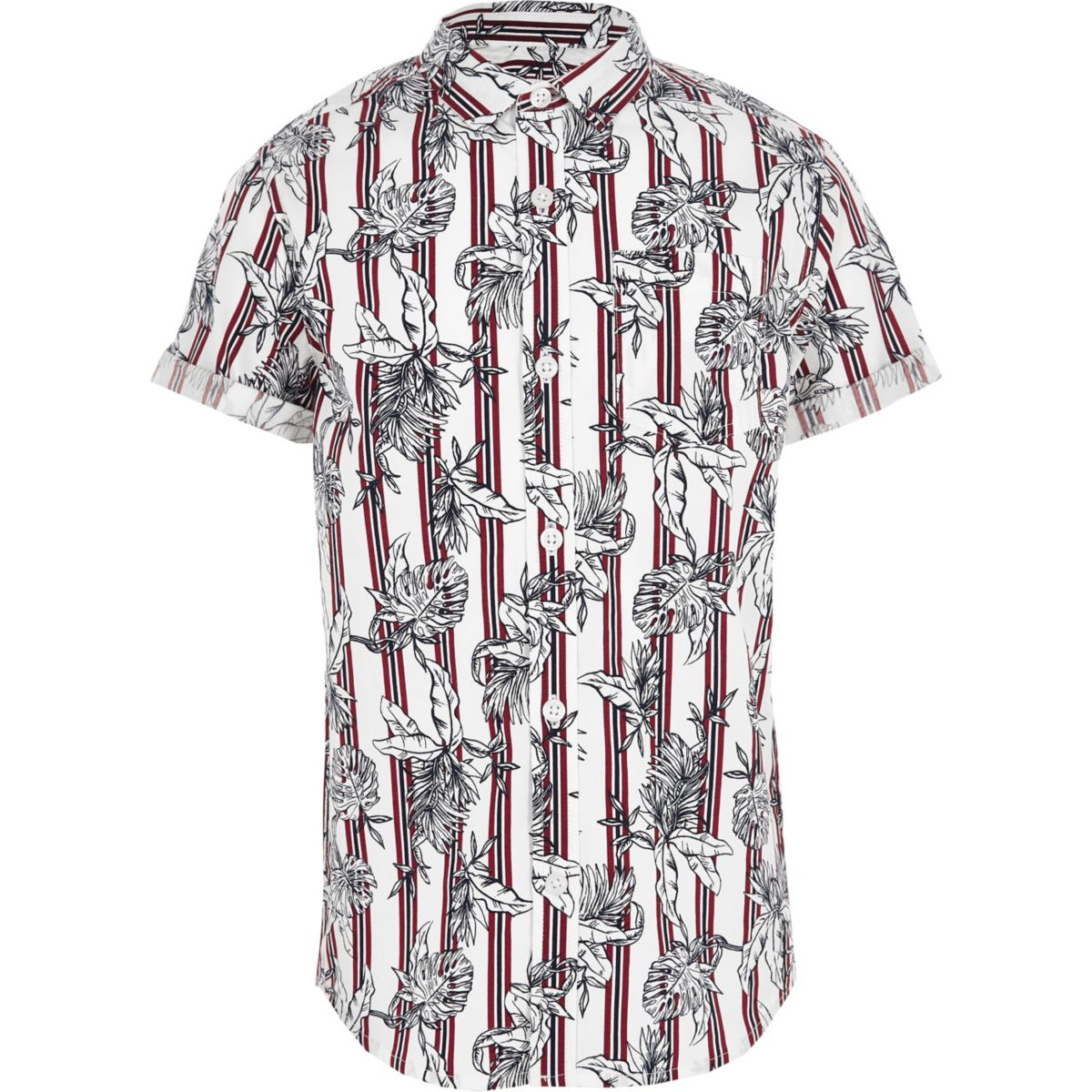 Boys dark red floral stripe shirt