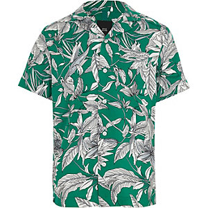 Boys green leaf print shirt