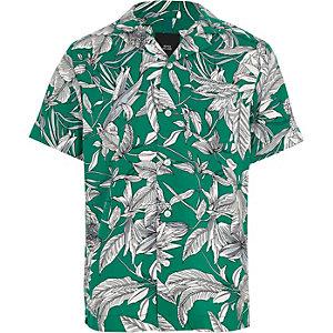 Groen overhemd met bladprint voor jongens