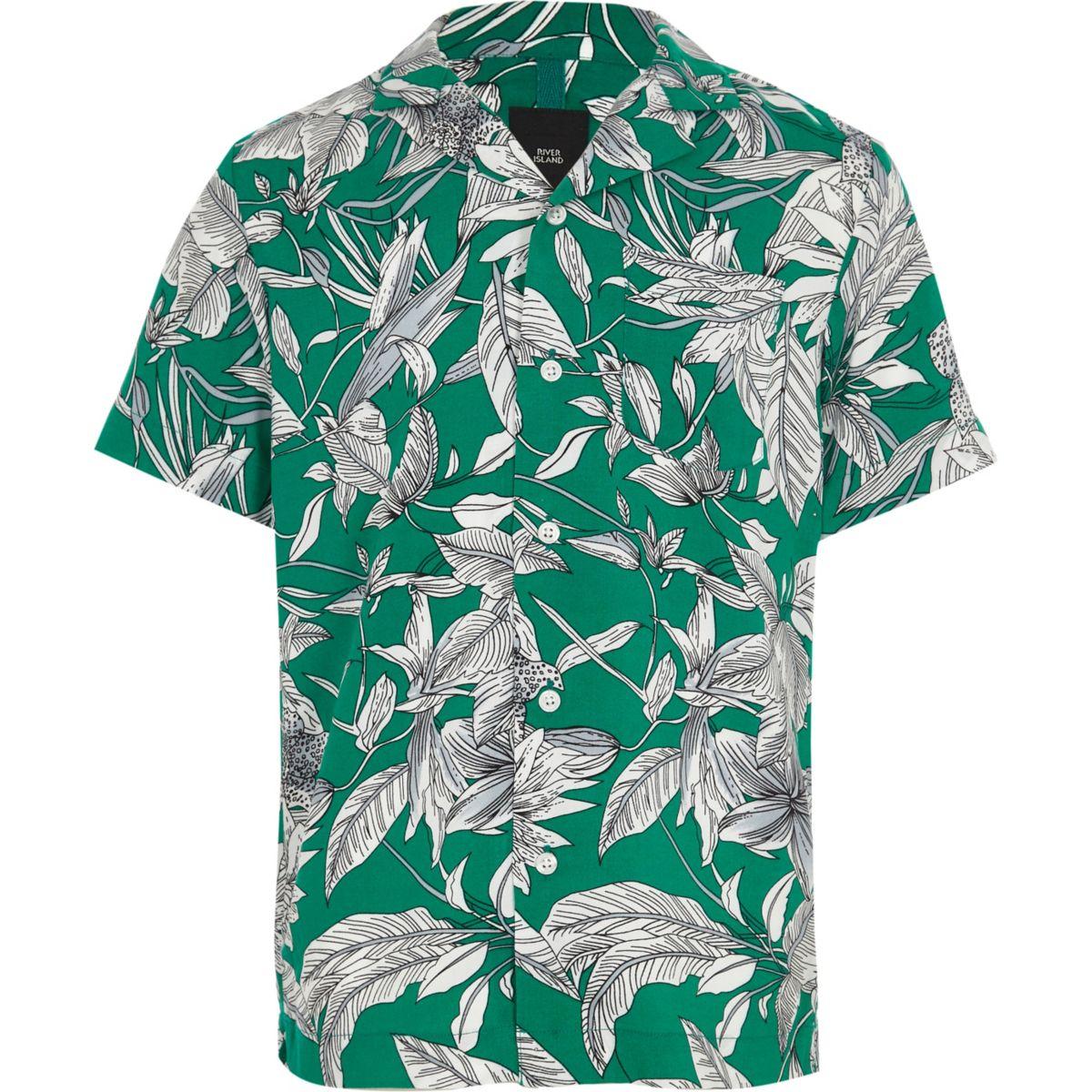 Boys green leaf print shirt