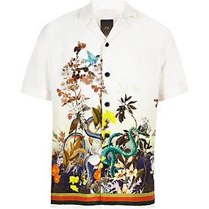 Boys green snake print short sleeve shirt