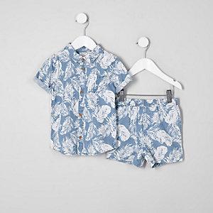 Mini - Outfit met blauw denim overhemd met verenprint voor jongens