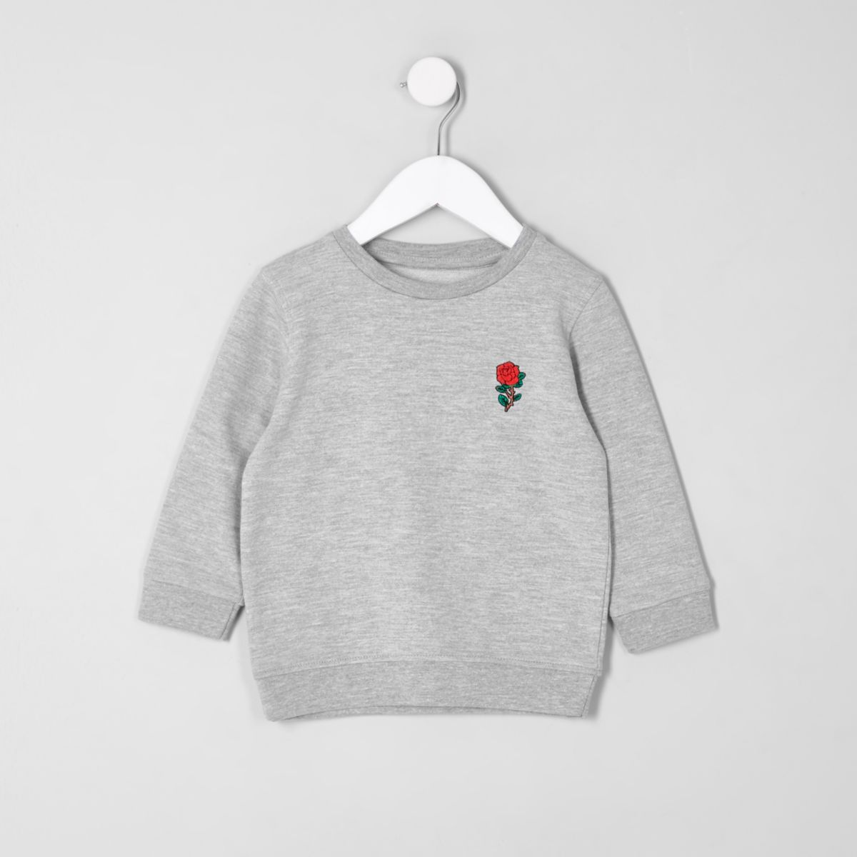 Mini boys grey marl embroidered sweatshirt