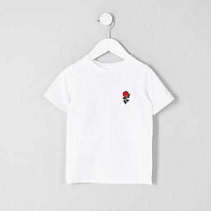 Mini - Wit T-shirt met geborduurde roos voor jongens