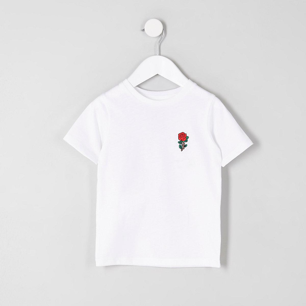Mini boys white rose embroidered T-shirt