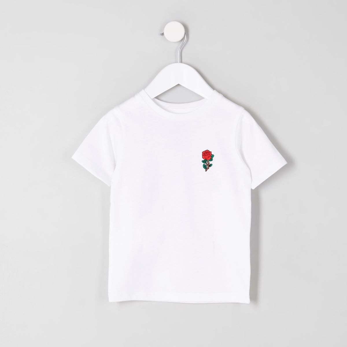Mini boys white rose embroidered T-shirt