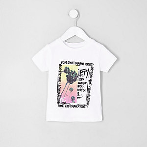 T-shirt imprimé palmier blanc mini garçon