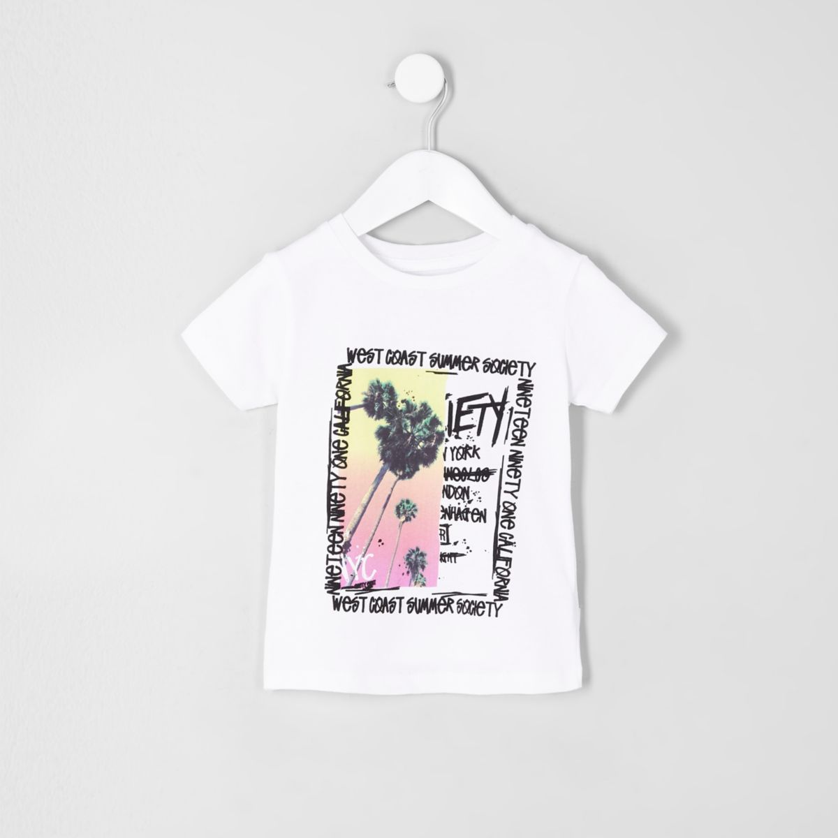 Mini boys white palm tree print T-shirt