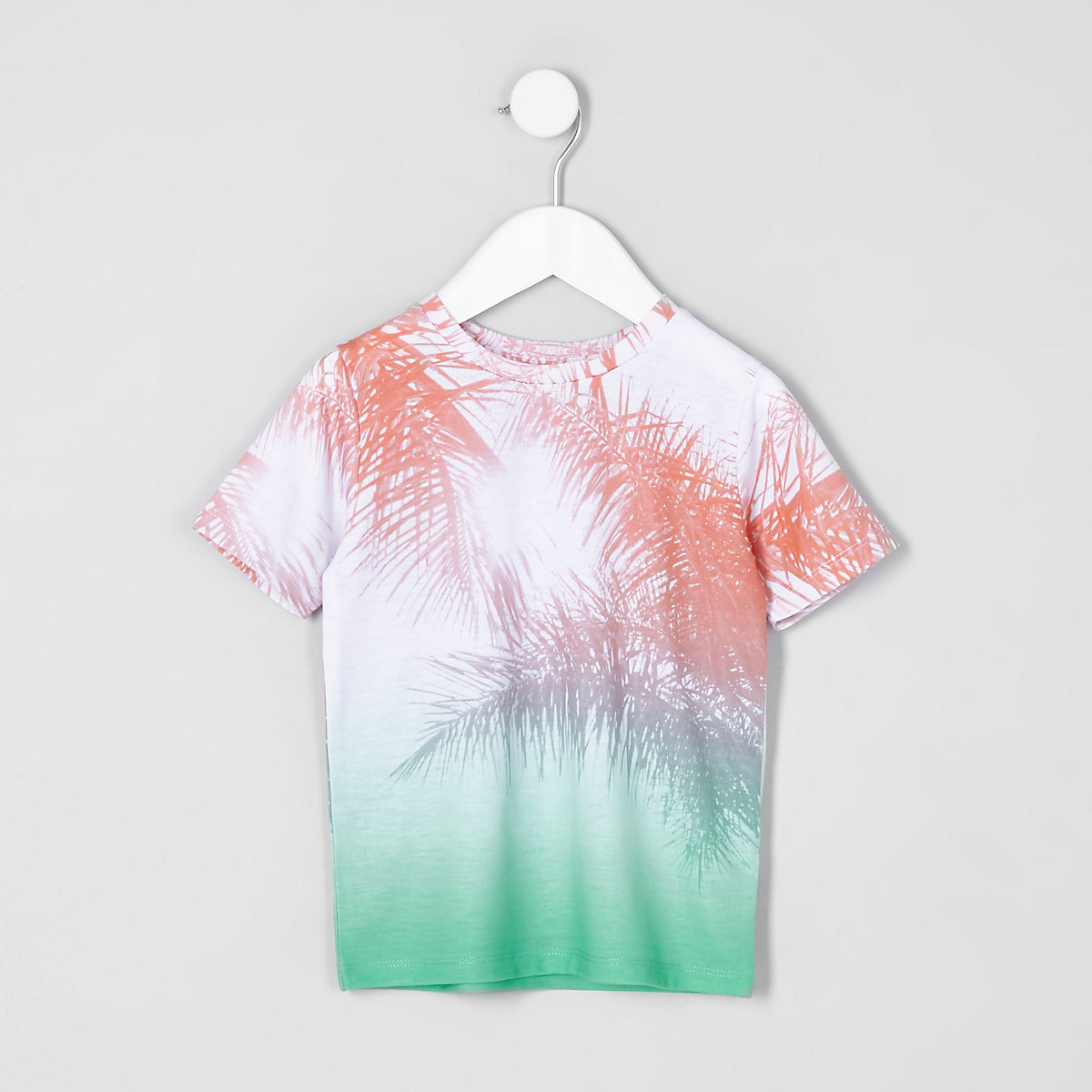 Mini boys pink palm fade print T-shirt