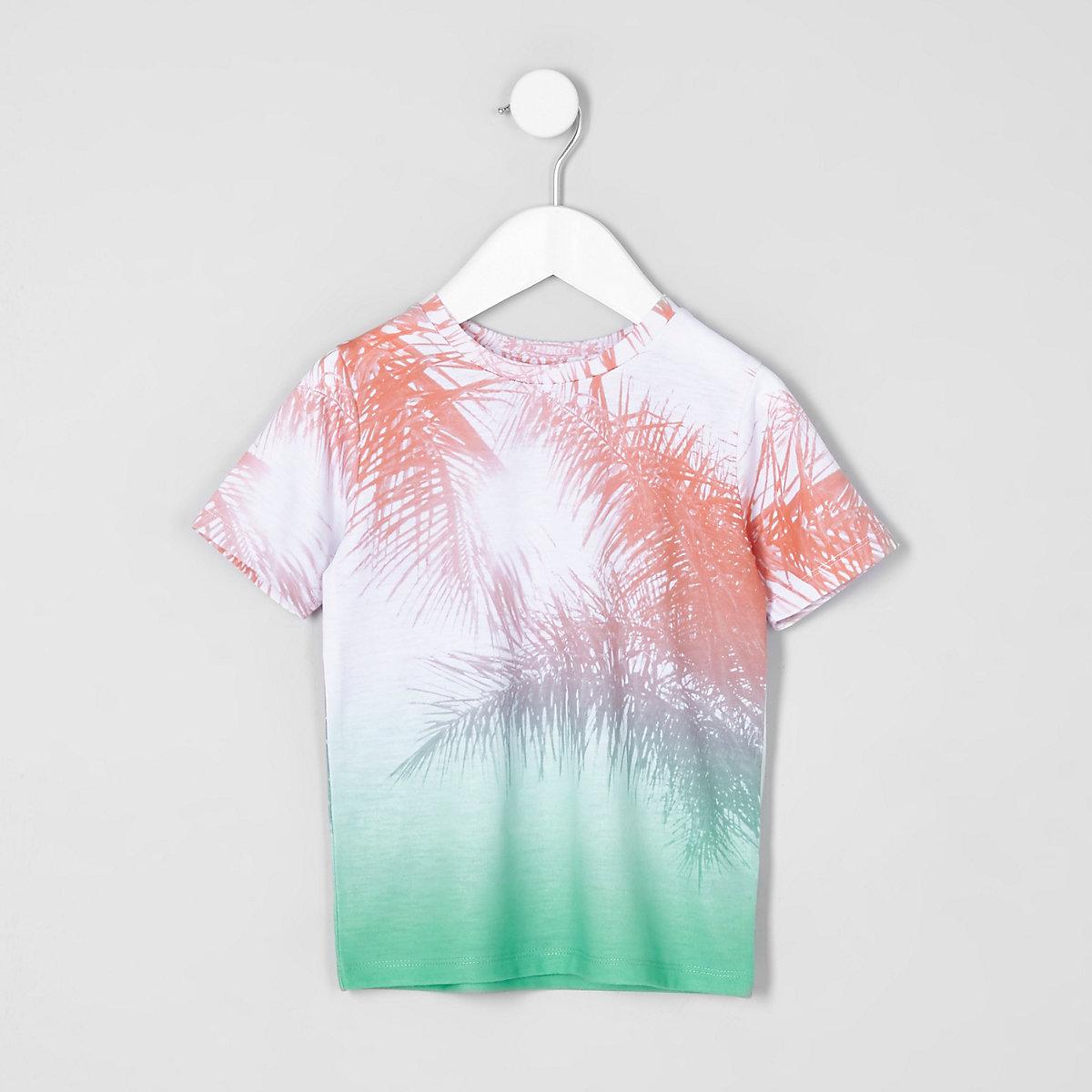 Mini boys pink palm fade print T-shirt