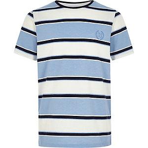 T-shirt « RI » brodé bleu à rayures pour garçon