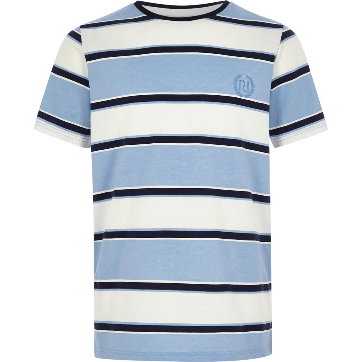 Boys blue stripe 'RI' embroidered T-shirt