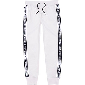 Boys white Franklin & Marshall print joggers