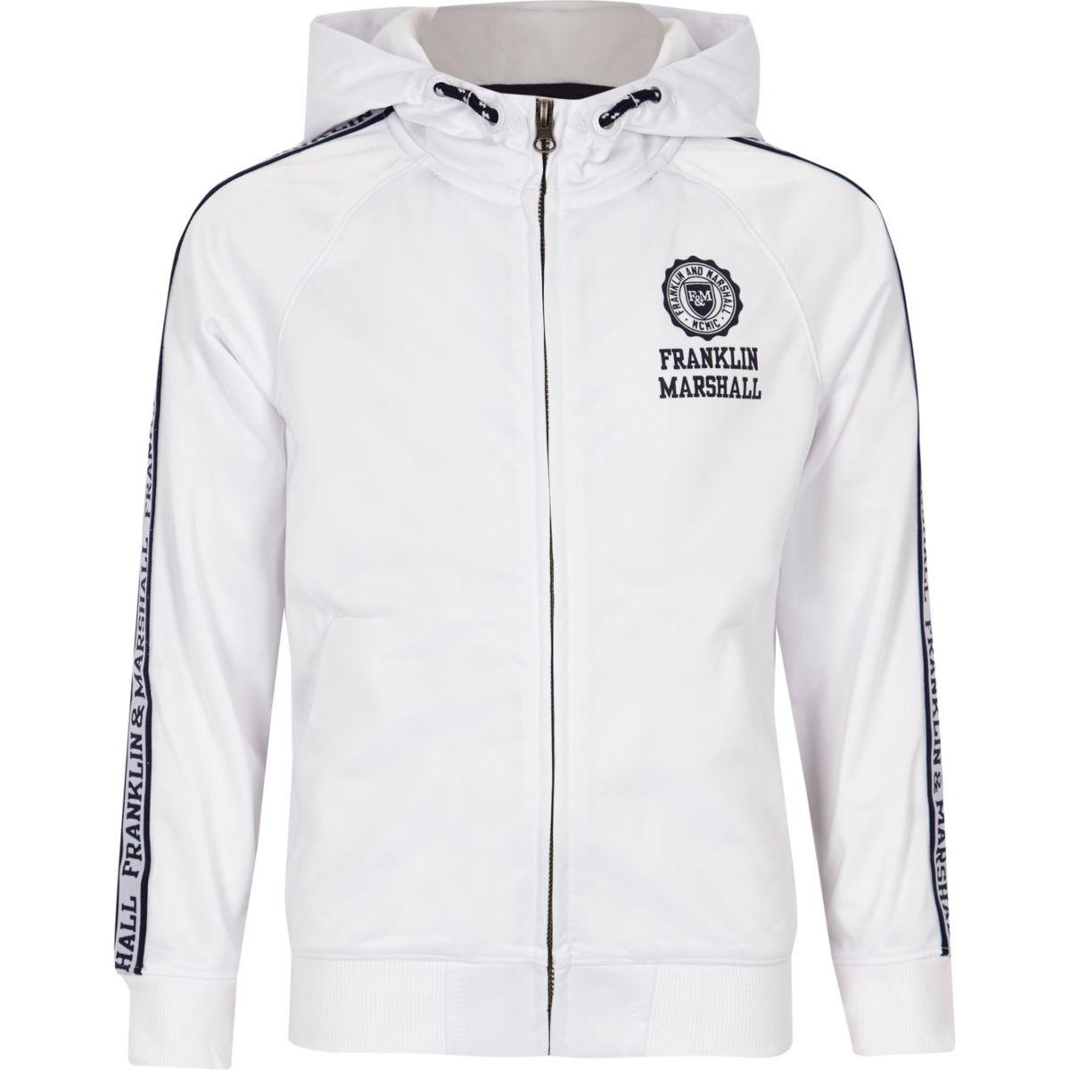 Boys white Franklin & Marshall print hoodie