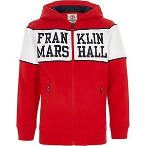 Franklin & Marshall – Sweat à capuche zippé rouge pour garçon