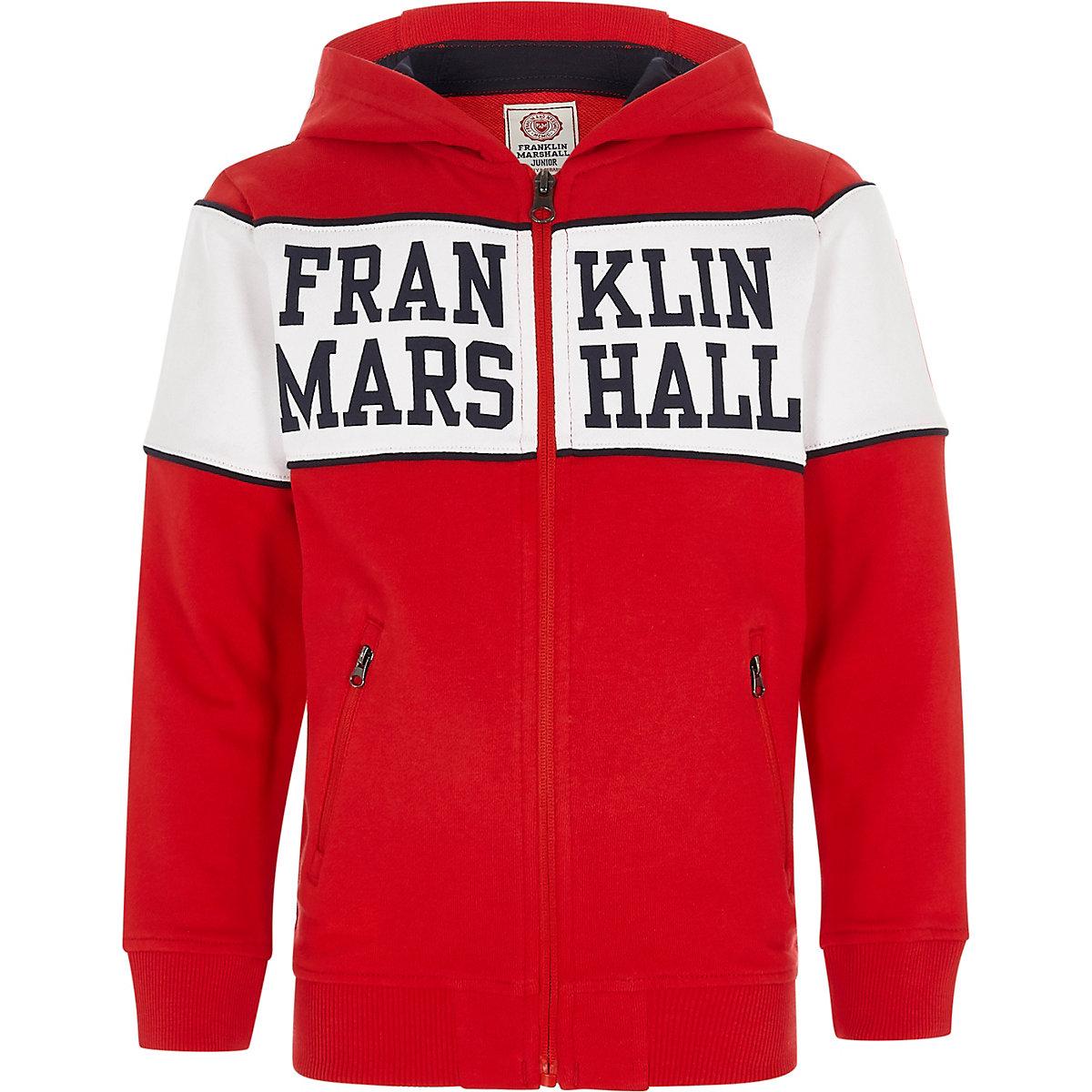 Franklin & Marshall – Sweat à capuche rouge zippé pour garçon