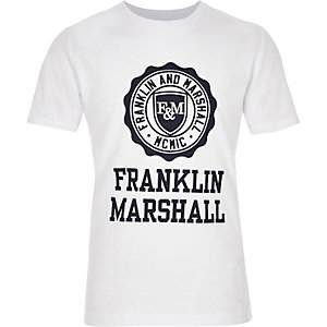 Franklin & Marshall - Wit T-shirt met print voor jongens