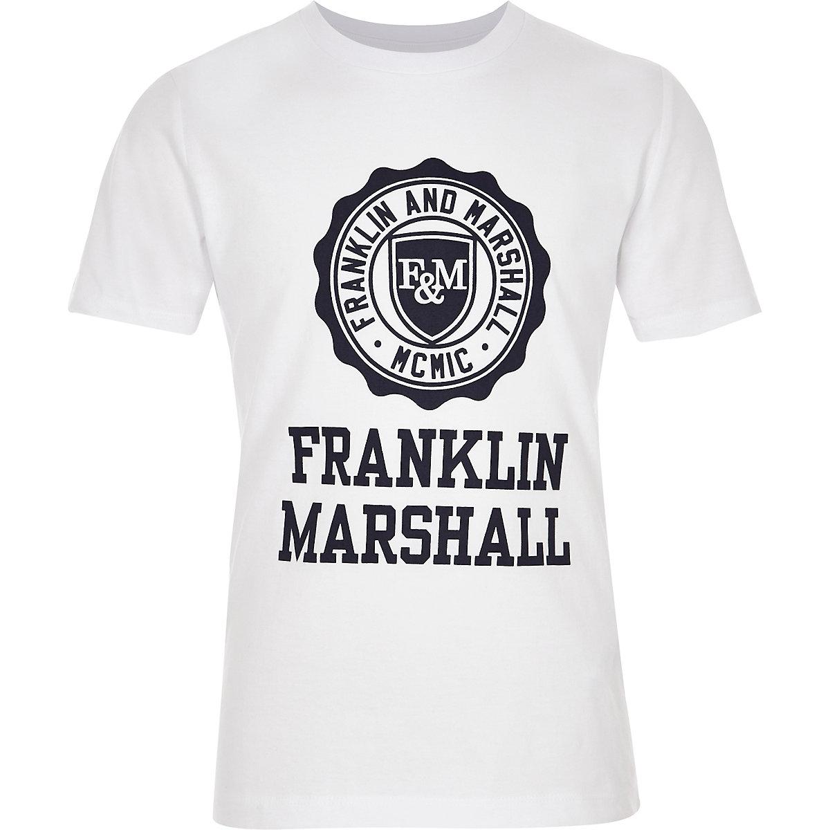 Boys Franklin & Marshall white logo T-shirt
