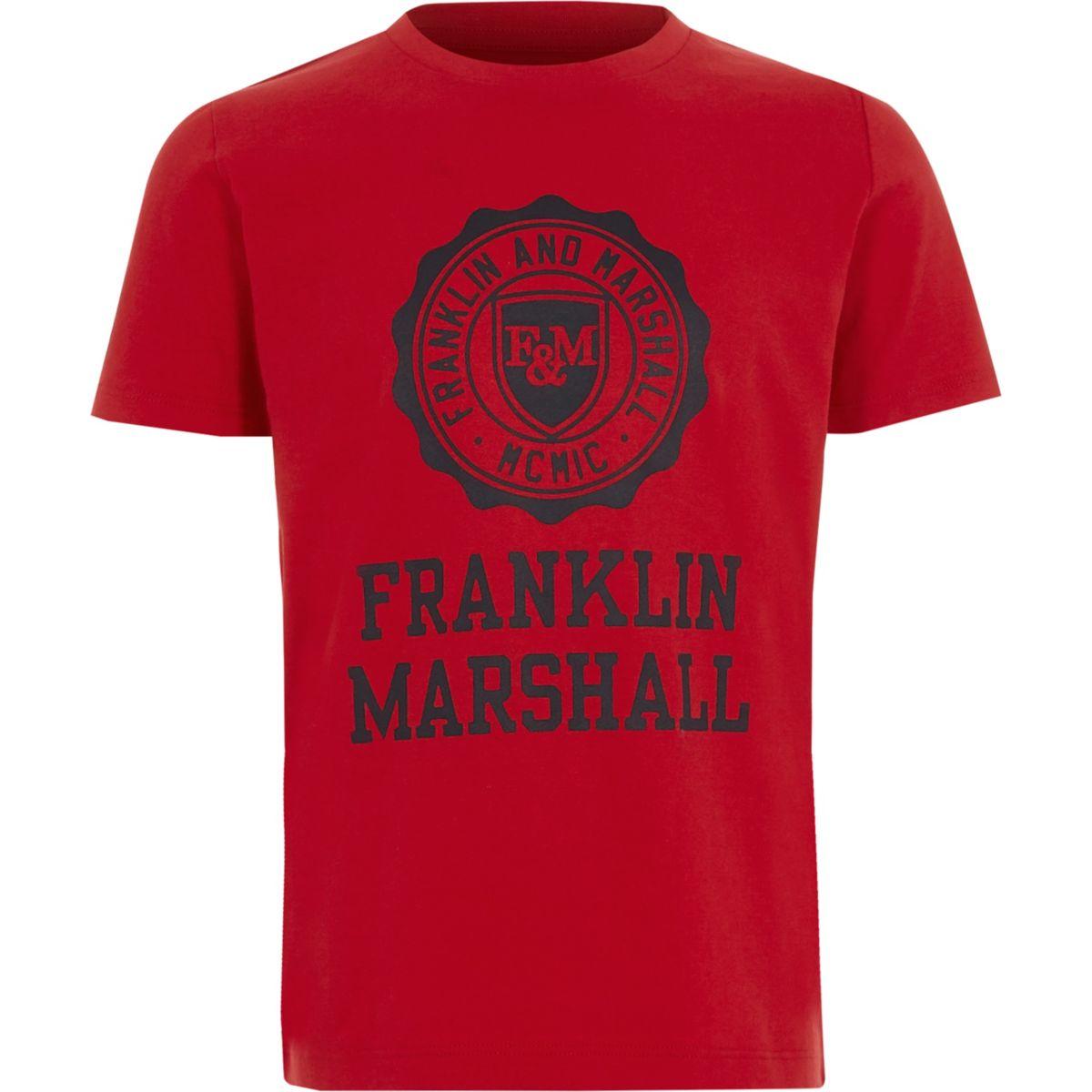 Boys red Franklin & Marshall print T-shirt