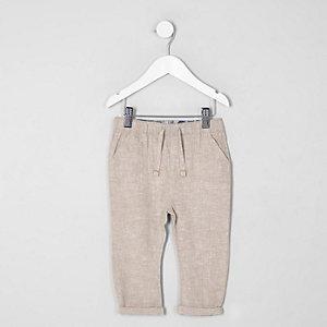 Mini - Kiezelkleurige linnen broek voor jongens