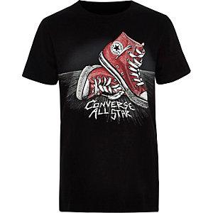 Converse – T-shirt à imprimé chaussures noir pour garçon