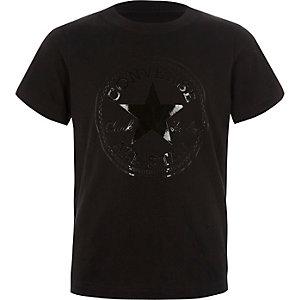 Converse – T-shirt noir avec logo métallisé pour garçon