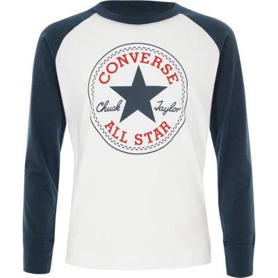 River Island Converse - T-shirt manches longues blanc pour garçon - Converse Jersey Manches raglan Converse imprimé logo