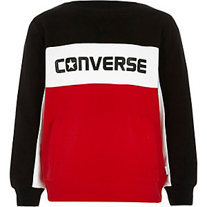 Boys Converse red color block sweatshirt