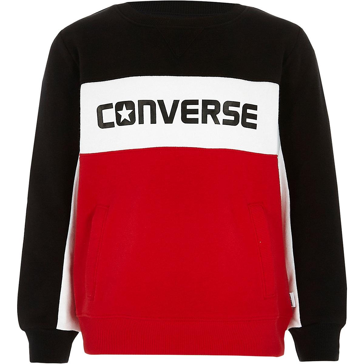 Converse – Sweat colour block rouge pour garçon