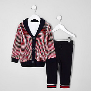 Mini boys jacquard cardigan outfit