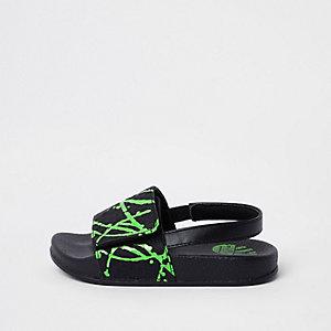 Mini - Groene slippers met verfspetterprint voor jongens