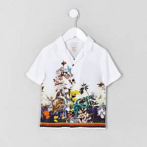 Mini boys white snake print shirt