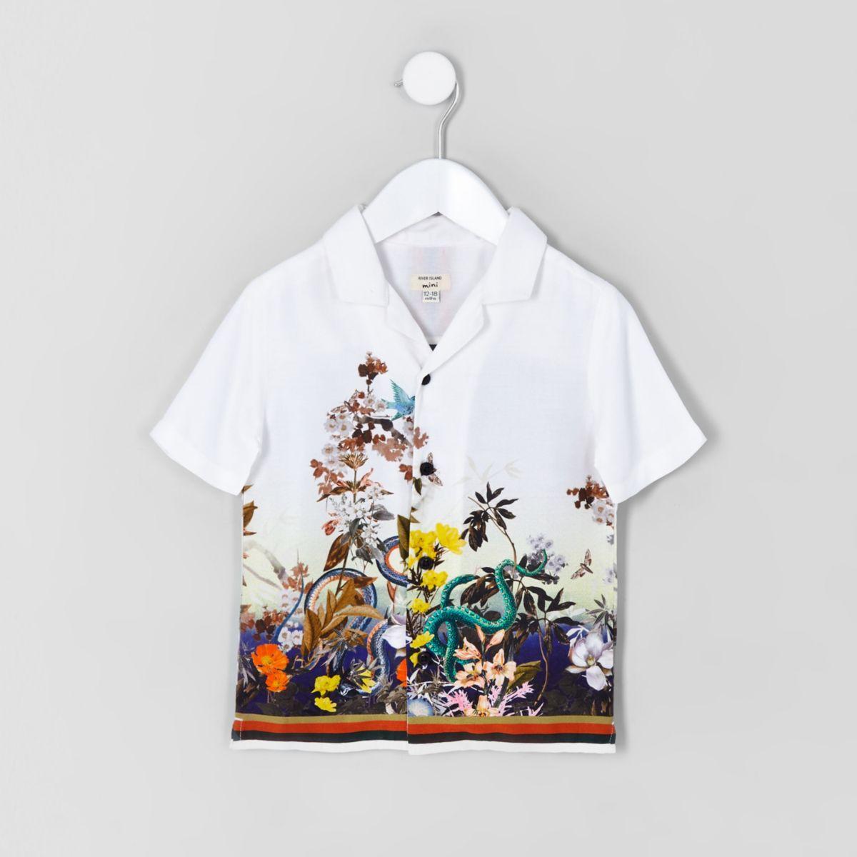 Mini boys white snake print shirt