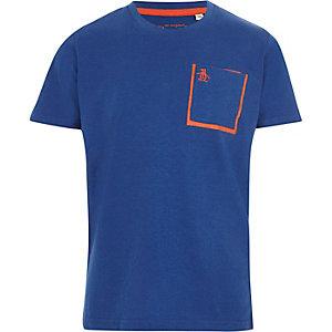 Blaues T-Shirt mit Brusttasche und Pinguinmotiv