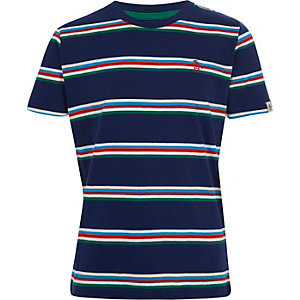 Boys navy Penguin stripe T-shirt