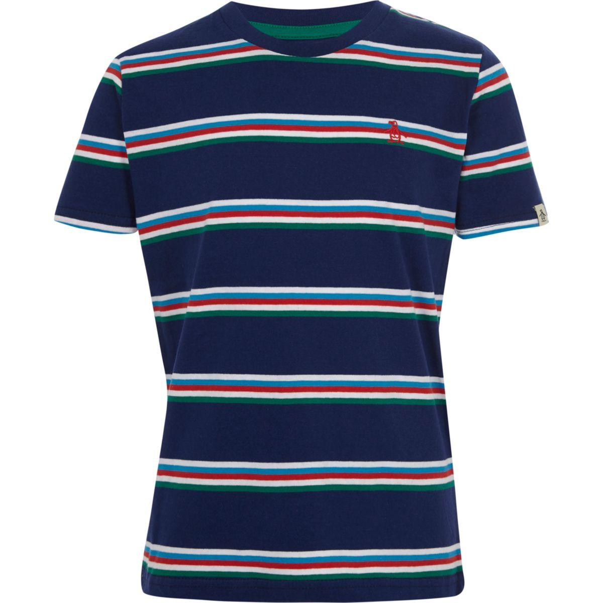 Boys navy Penguin stripe T-shirt