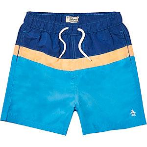 Boys blue Penguin colour block swim shorts