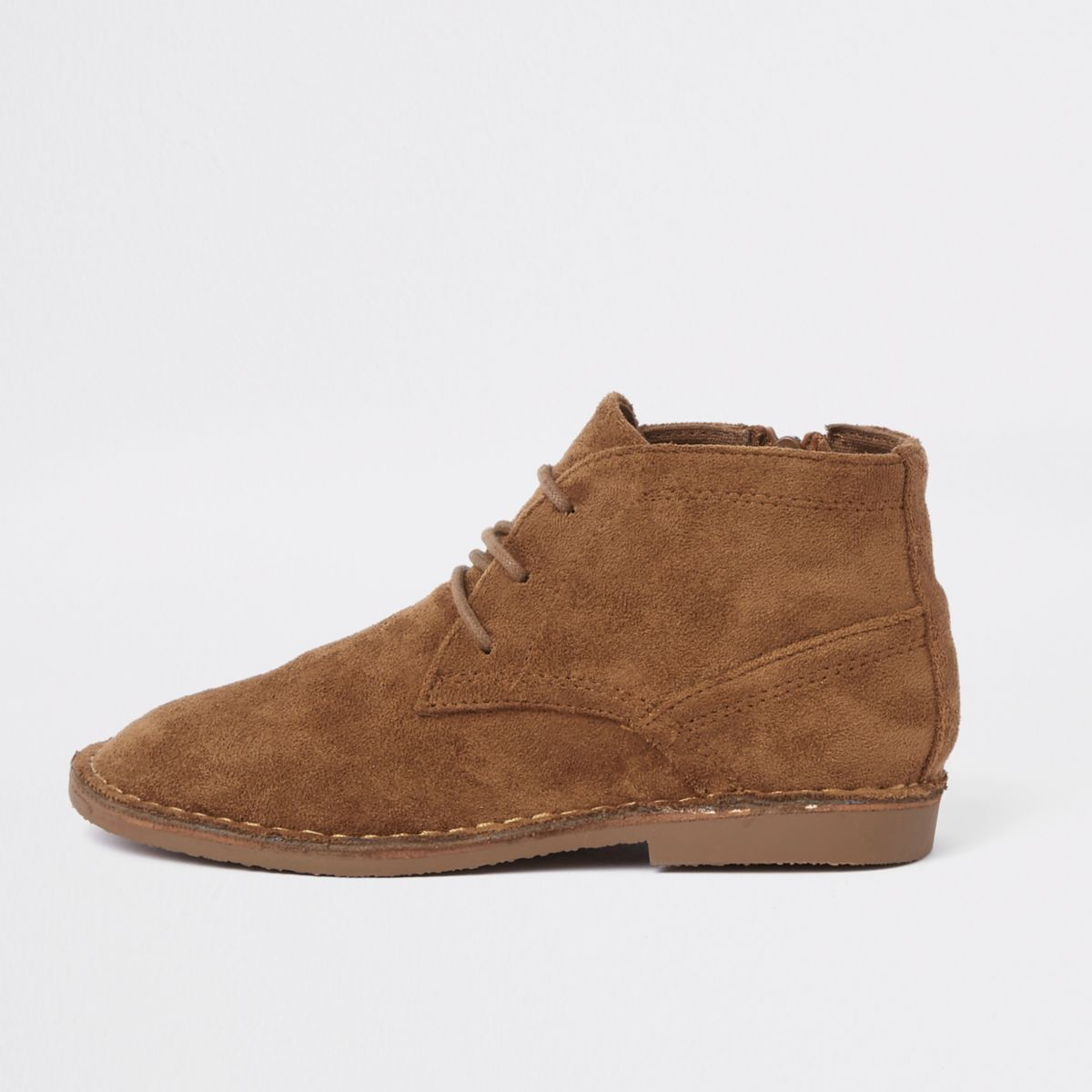 Boys brown faux suede desert boots