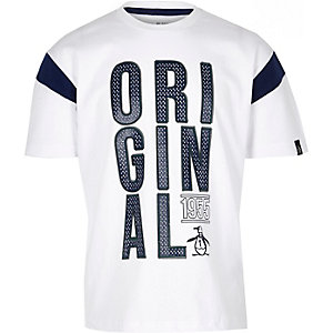 Penguin - Wit oversized T-shirt voor jongens