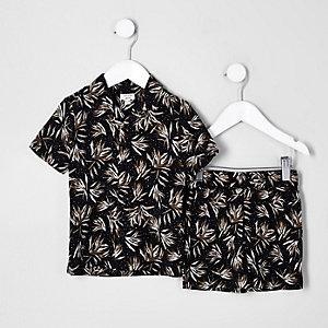 Mini - Outfit met zwart overhemd met veerprint voor jongens