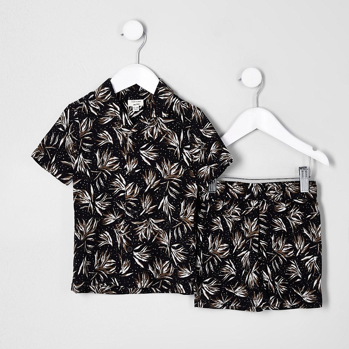 Mini boys black feather shirt outfit