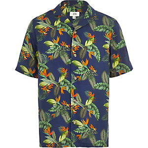 Boys navy tropical print short sleeve shirt